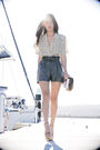 Gray-gary-pepper-vintage-shorts-yellow-thrifted-top-pink-miu-miu-shoes-bei