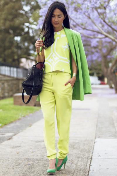turquoise blue Zara heels - chartreuse Karla Spetic jacket