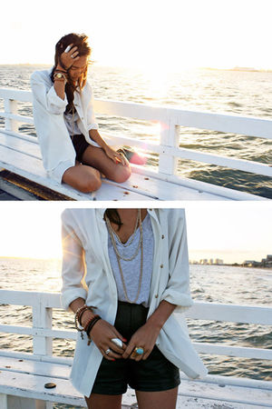 white vintage shirt - black vintage shorts - silver Sportsgirl top - silver sama