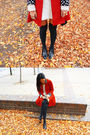Red-vintage-coat-white-vintage-top-black-topshop-socks-black-vintage-shoes