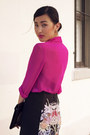 Turquoise-blue-zara-heels-hot-pink-topshop-shirt