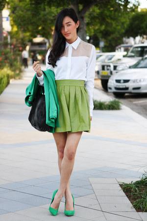 chartreuse Desordre skirt - turquoise blue Zara jacket - white Yeojin Bae shirt