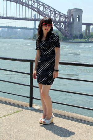 blue vintage dress - white Steve Madden shoes - red sunglasses