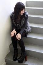 silver Forever 21 vest - dark gray Forever 21 cardigan - black vintage skirt - b