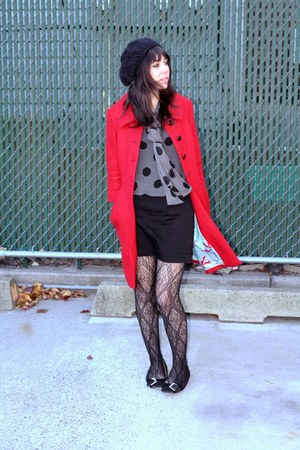 black Target tights - black Michael Kors shoes - ruby red Tulle coat