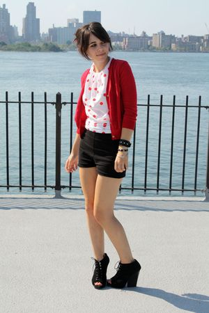 black American Apparel shorts - black Dolce Vita shoes - red Zara cardigan