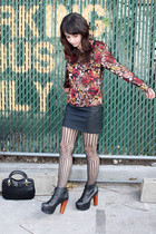 orange vintage blouse - black Forever 21 skirt - black Jeffrey Campbell shoes -