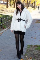 white vintage jacket - black Forever 21 skirt - black Urban Outfitters shoes - b