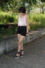 Beige-forever-21-blouse-black-american-apparel-shorts-black-steve-madden-sho