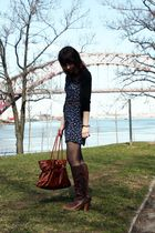 vintage dress - Forever 21 cardigan - UO belt - H&M tights - seychelles boots -