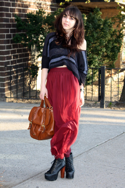 maroon American Apparel skirt - tawny H&M bag - navy free people blouse