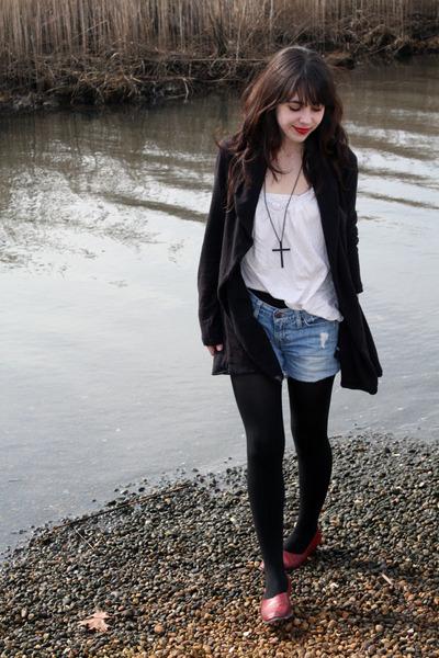 brick red vintage shoes - black free people blazer - white Target shirt - black