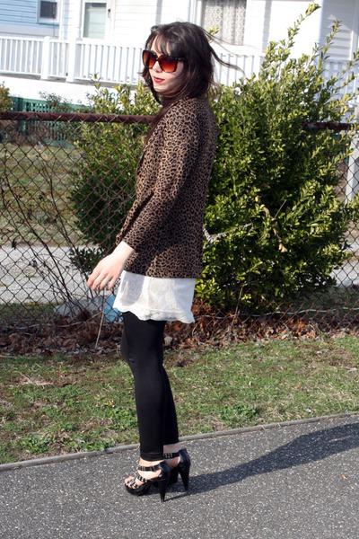 white H&M dress - black American Apparel leggings - bronze vintage blazer - ligh