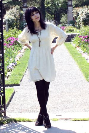 white Urban Outfitters dress - black H&M stockings - black Dolce Vita shoes - br