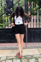 brown vintage jacket - black Forever 21 shorts - red vintage shoes