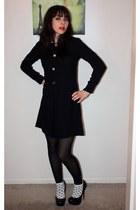 black vintage dress - white Forever 21 socks - black Steve Madden heels