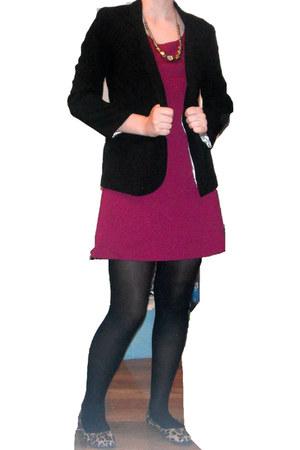pink INC dress - black Urban Outfitters blazer - tights - Target flats