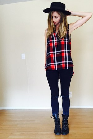 plaid shirt modcloth top - combat boots thrifted vintage boots