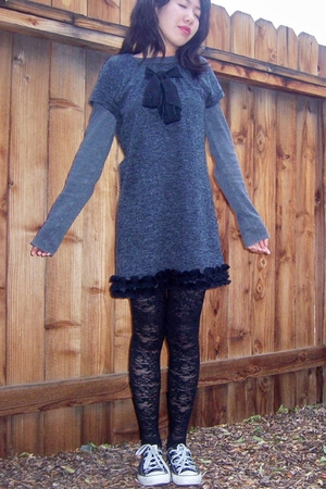 Old Navy t-shirt - Forever21 dress - Betsey Johnson tights - Converse shoes