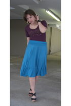 purple Express top - blue skirt - black Chinese Laundry shoes - black Etsy acces