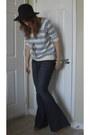 Blue-flare-forever-21-jeans-black-vintage-hat-tawny-vintage-clogs-sky-blue