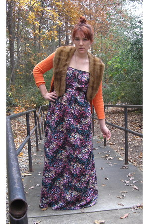brown vintag accessories - orange The Limited cardigan - black Target dress - bl
