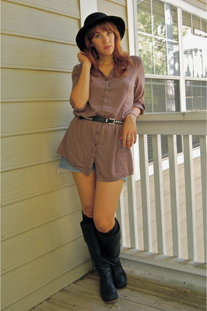 black Lucky Brand boots - black vintage hat - light brown Forever 21 shirt