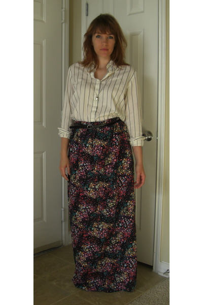 white Ralph Lauren top - black maxi Target skirt