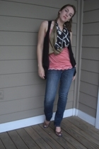 easel vest - charlotte rousse top - Express jeans - tribeca shoes
