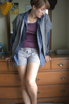 blue Express shirt - gray Forever 21 vest - purple Express shirt - gray Express