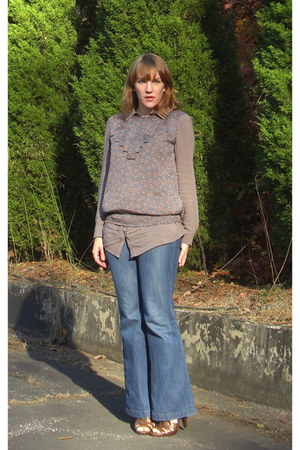 dark khaki modcloth blouse - brown Forever 21 dress - blue Old Navy jeans - brow