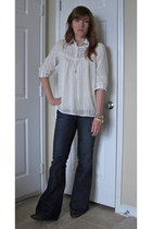 blue Forever 21 jeans - ivory H&M blouse - white Ralph Lauren blouse - gold Targ