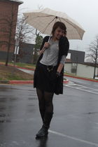 gray Forever 21 top - black H&M cardigan - black Old Navy skirt - black Steve Ma