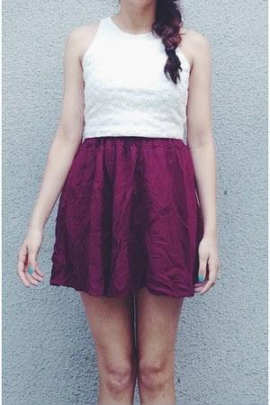 white lace shirt - Forever 21 shirt - maroon skirt - skirt