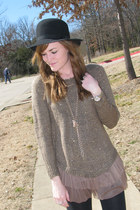 tan Sheinside sweater - black vintage hat
