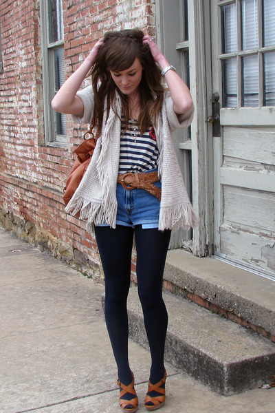 beige hollister sweater - brown Jessica Simpson shoes - blue Forever21 shirt