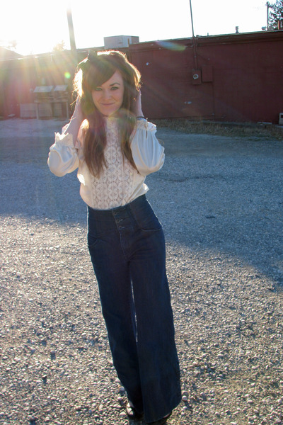 cream thrifted top - navy Old Navy pants - black Forever21 accessories - black w