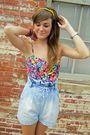 Pink-forever21-blue-h-m-shorts-gold-headband-accessories