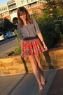 Navy-gingham-gilly-hicks-shirt-orange-floral-abercrombie-and-fitch-skirt