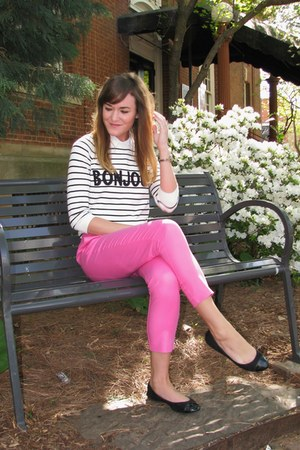 white asos sweater - hot pink Forever 21 pants - black wal-mart flats