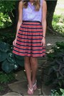 White-forever-21-sandals-red-j-crew-skirt-light-purple-forever-21-top