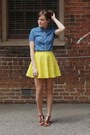 Navy-denim-j-crew-top-yellow-forever-21-skirt-brown-wal-mart-sandals