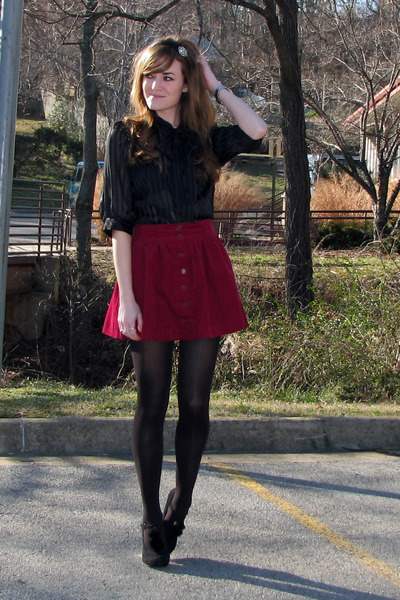 brick red Forever 21 skirt - black wal-mart tights