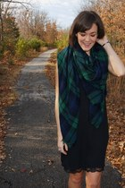 forest green plaid Zara scarf - black Jeffrey Campbell boots - black Zara dress