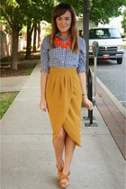 mustard Therapy skirt - navy gingham Gilly Hicks shirt - red J Crew necklace
