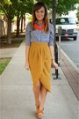 Navy-gingham-gilly-hicks-shirt-red-j-crew-necklace-mustard-therapy-skirt