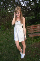 white Keds shoes - ivory Urban Outfitters dress - aquamarine bow American Appare