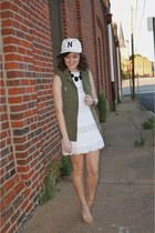 white J Crew dress - white J Crew hat - army green H&M vest