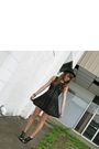 Black-forever21-dress-black-wal-mart-hat-black-random-boutique-shoes-green