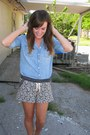 Blue-chambray-j-crew-shirt-blue-forever-21-shorts